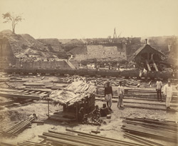 View of excavation for 80 feet entrance, subsidiary dam under construction [Victoria Dock construction, Bombay].